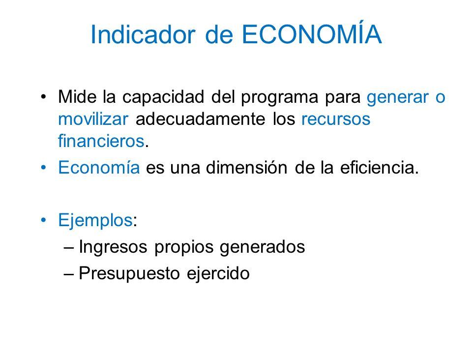 Indicador de ECONOMÍA Mide la capacidad del programa para generar o movilizar adecuadamente los recursos financieros. Economía es una dimensión de la