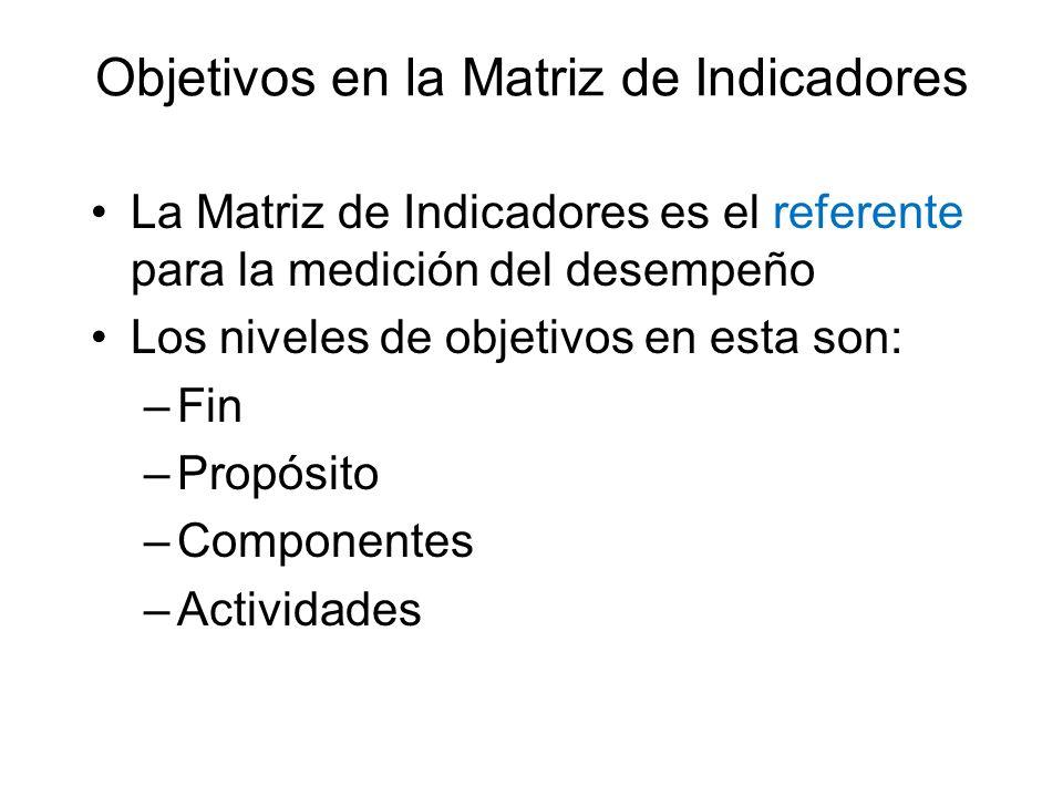 Objetivos en la Matriz de Indicadores La Matriz de Indicadores es el referente para la medición del desempeño Los niveles de objetivos en esta son: –F