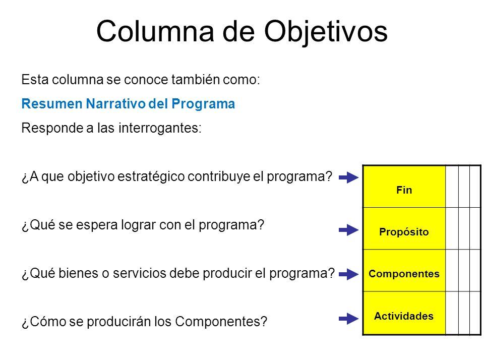 Esta columna se conoce también como: Resumen Narrativo del Programa Responde a las interrogantes: ¿A que objetivo estratégico contribuye el programa?