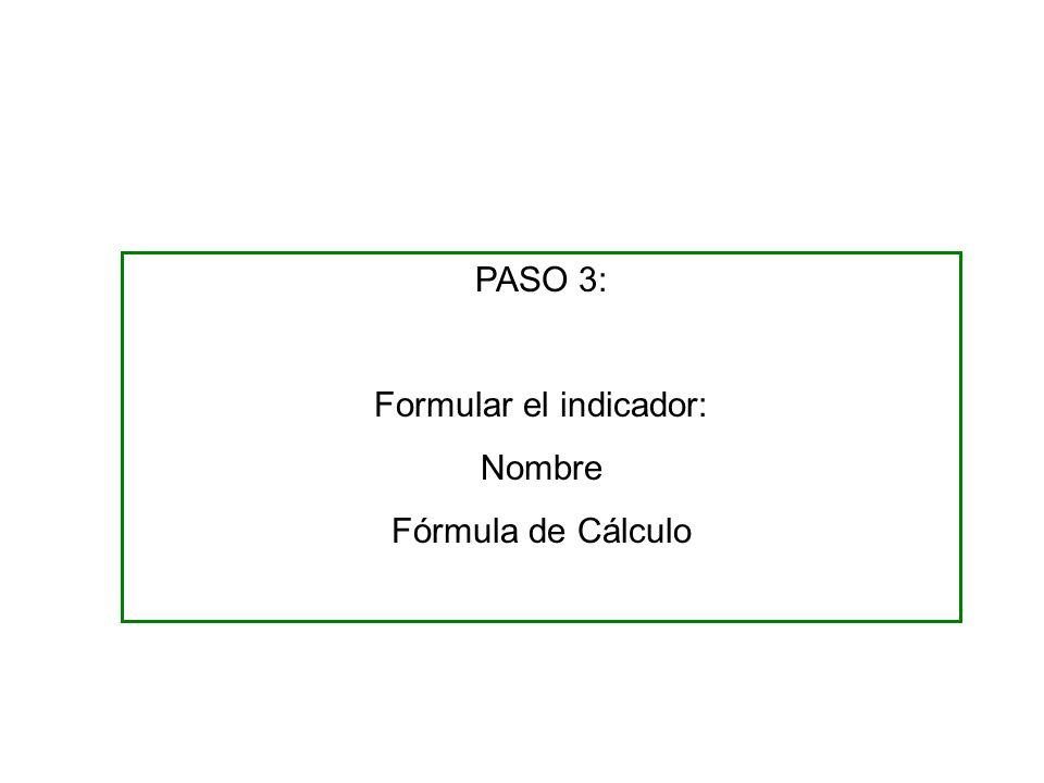PASO 3: Formular el indicador: Nombre Fórmula de Cálculo