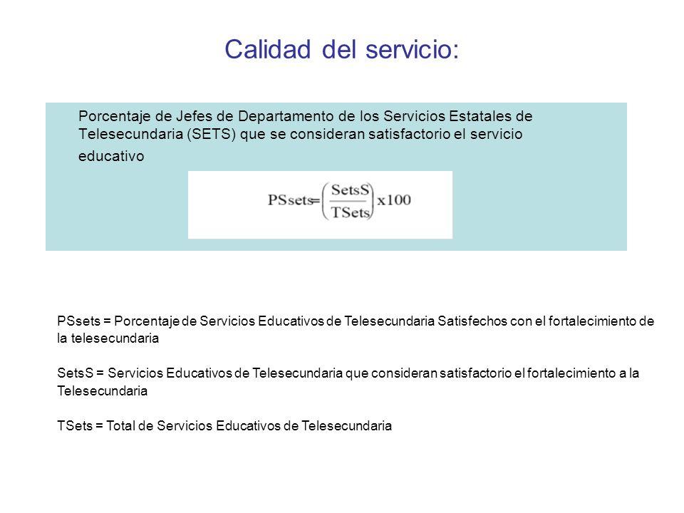 Calidad del servicio: Porcentaje de Jefes de Departamento de los Servicios Estatales de Telesecundaria (SETS) que se consideran satisfactorio el servi