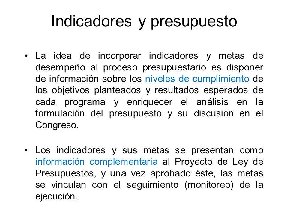 Indicadores y presupuesto La idea de incorporar indicadores y metas de desempeño al proceso presupuestario es disponer de información sobre los nivele