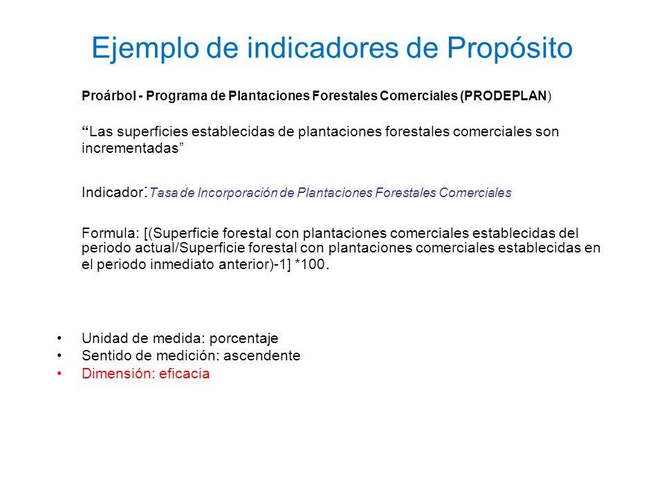 Ejemplo de indicadores de Propósito Proárbol - Programa de Plantaciones Forestales Comerciales (PRODEPLAN) Las superficies establecidas de plantacione