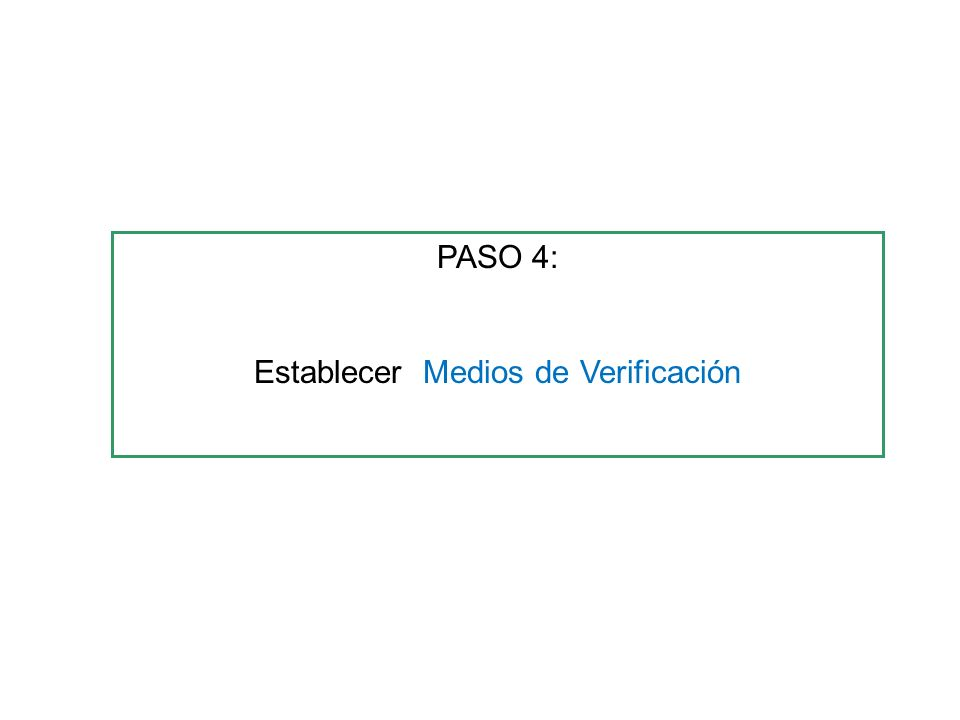 PASO 4: Establecer Medios de Verificación