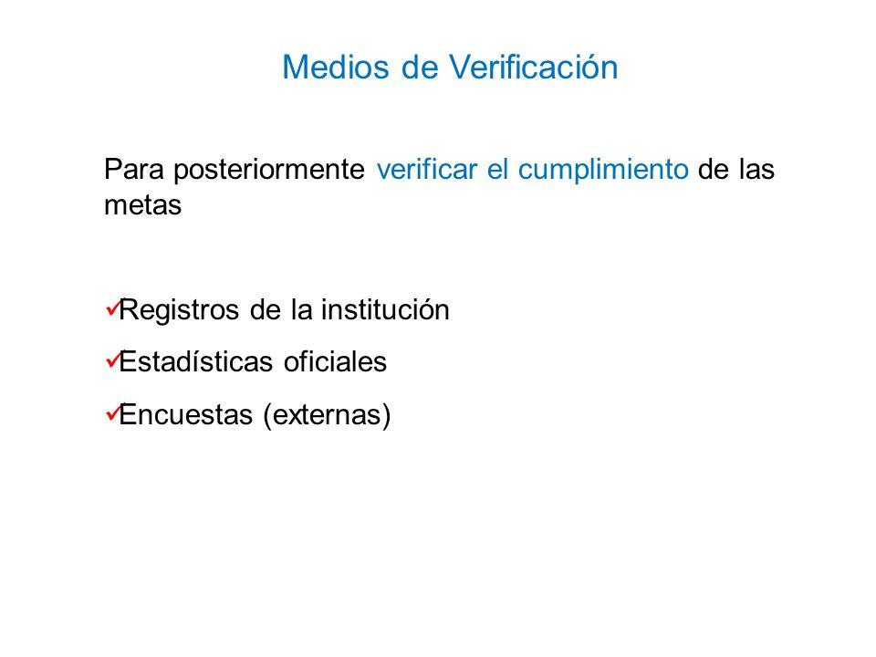 Para posteriormente verificar el cumplimiento de las metas Registros de la institución Estadísticas oficiales Encuestas (externas) Medios de Verificac