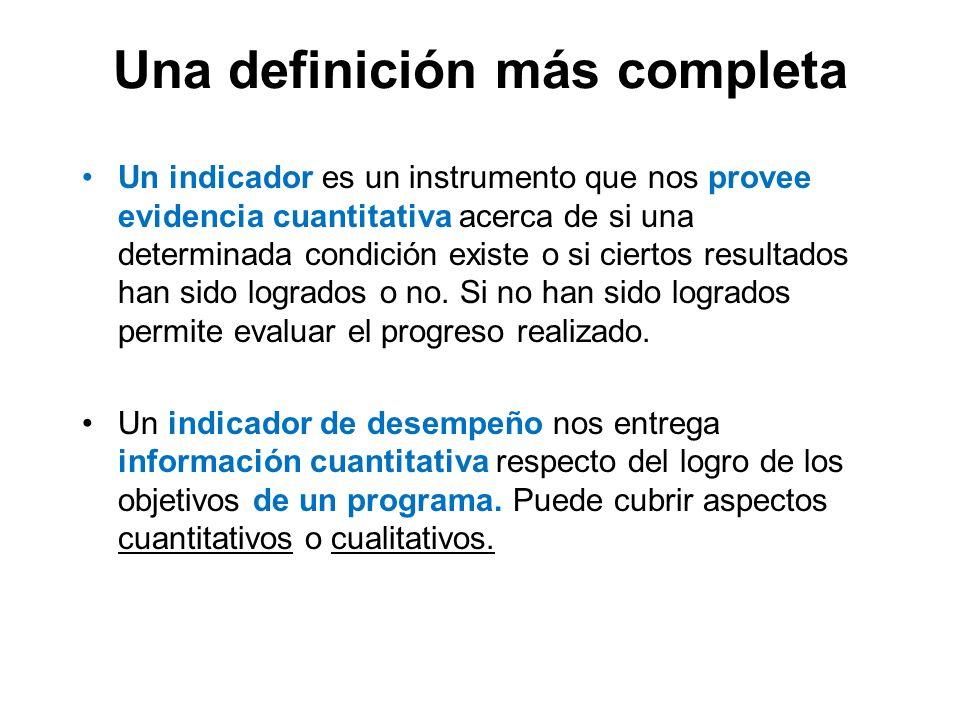 Una definición más completa Un indicador es un instrumento que nos provee evidencia cuantitativa acerca de si una determinada condición existe o si ci