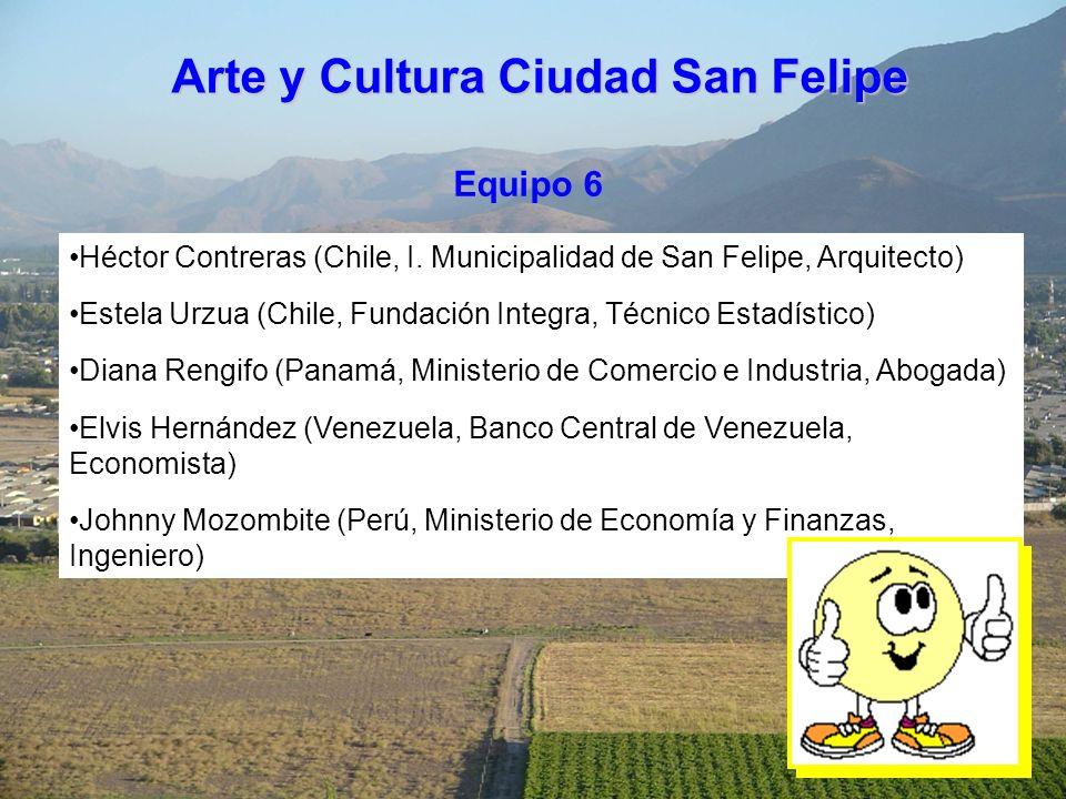 Equipo 6 Héctor Contreras (Chile, I. Municipalidad de San Felipe, Arquitecto) Estela Urzua (Chile, Fundación Integra, Técnico Estadístico) Diana Rengi