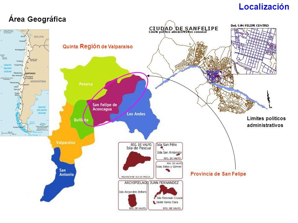 Provincia de San Felipe Área Geográfica Quinta Región de Valparaíso Limites políticos administrativos Localización