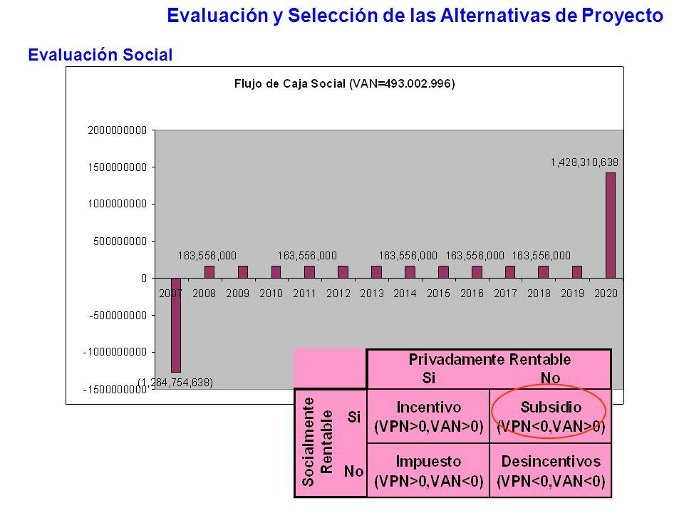 Evaluación y Selección de las Alternativas de Proyecto Evaluación Social