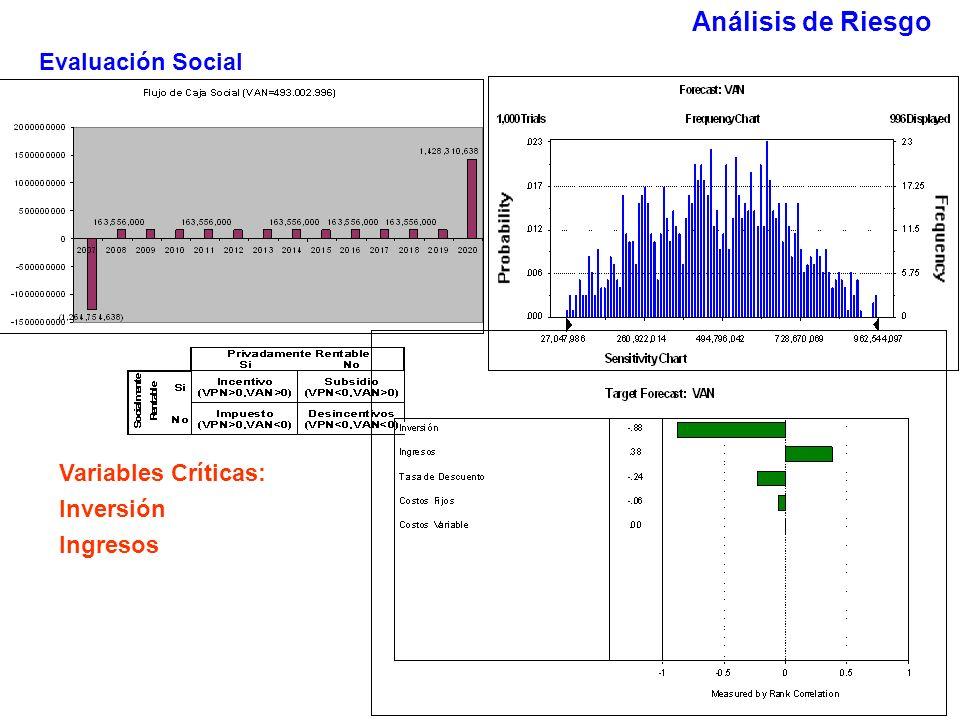 Evaluación Social Variables Críticas: Inversión Ingresos