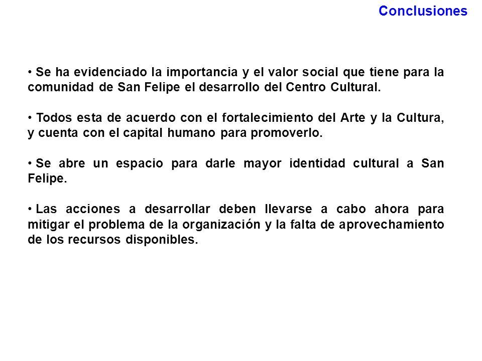Conclusiones Se ha evidenciado la importancia y el valor social que tiene para la comunidad de San Felipe el desarrollo del Centro Cultural. Todos est