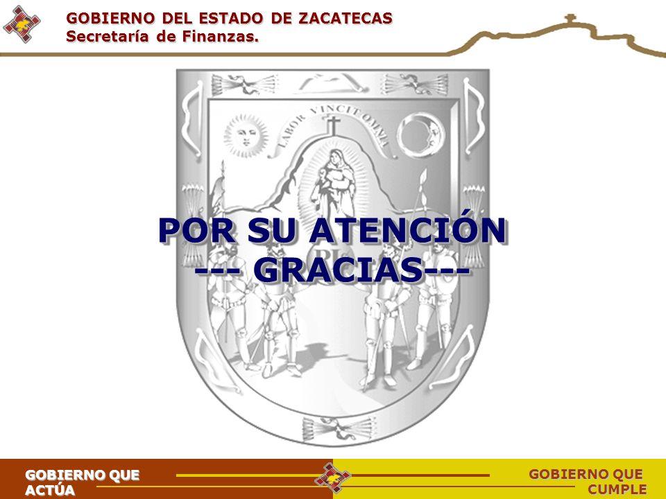 GOBIERNO DEL ESTADO DE ZACATECAS Secretaría de Finanzas. POR SU ATENCIÓN --- GRACIAS--- POR SU ATENCIÓN --- GRACIAS--- GOBIERNO QUE ACTÚA CUMPLE