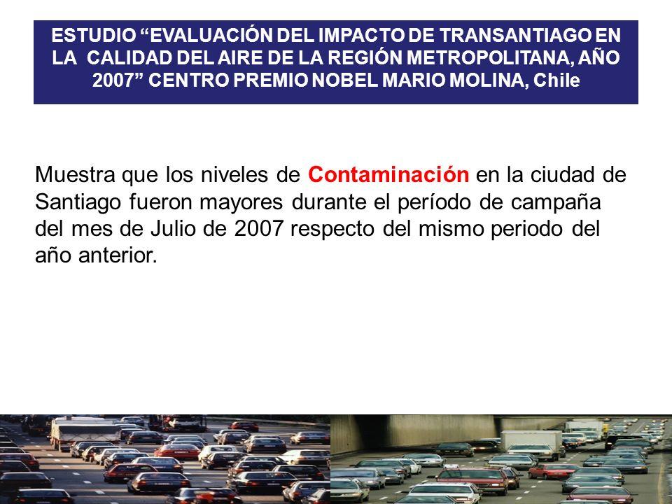 Muestra que los niveles de Contaminación en la ciudad de Santiago fueron mayores durante el período de campaña del mes de Julio de 2007 respecto del m