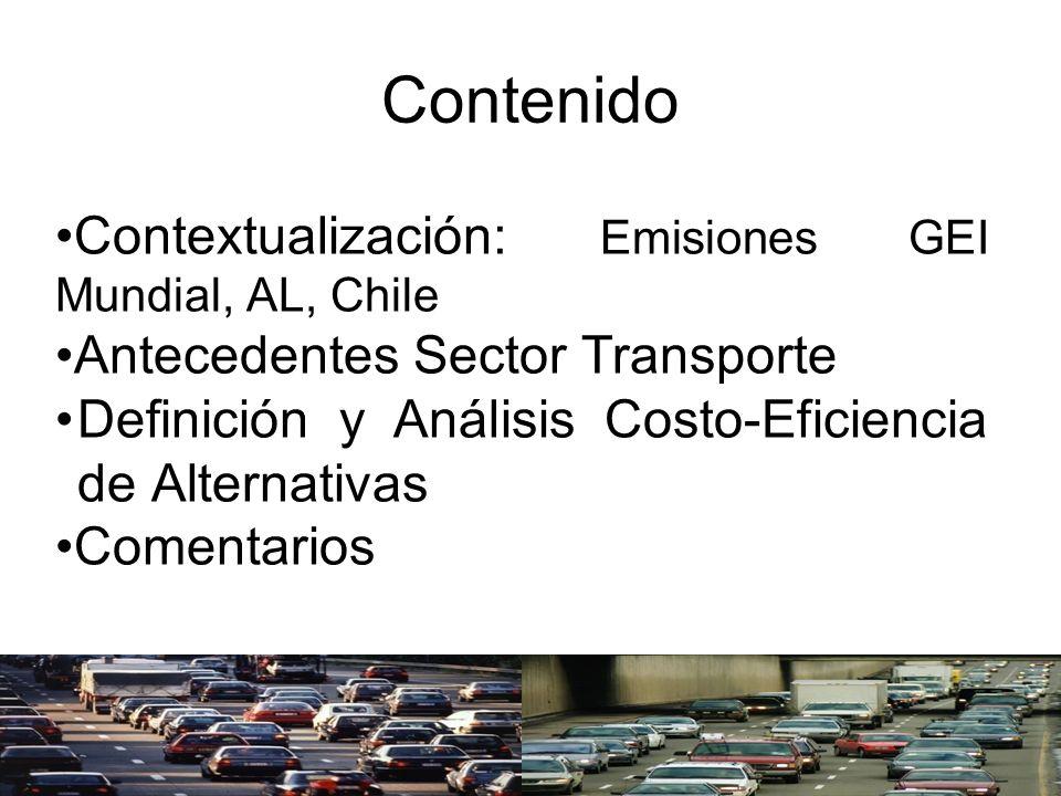 Contenido Contextualización: Emisiones GEI Mundial, AL, Chile Antecedentes Sector Transporte Definición y Análisis Costo-Eficiencia de Alternativas Co