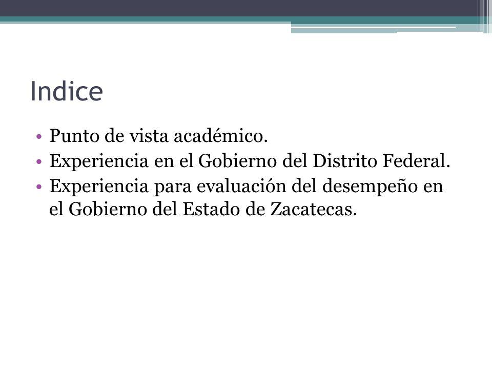 Indice Punto de vista académico. Experiencia en el Gobierno del Distrito Federal. Experiencia para evaluación del desempeño en el Gobierno del Estado