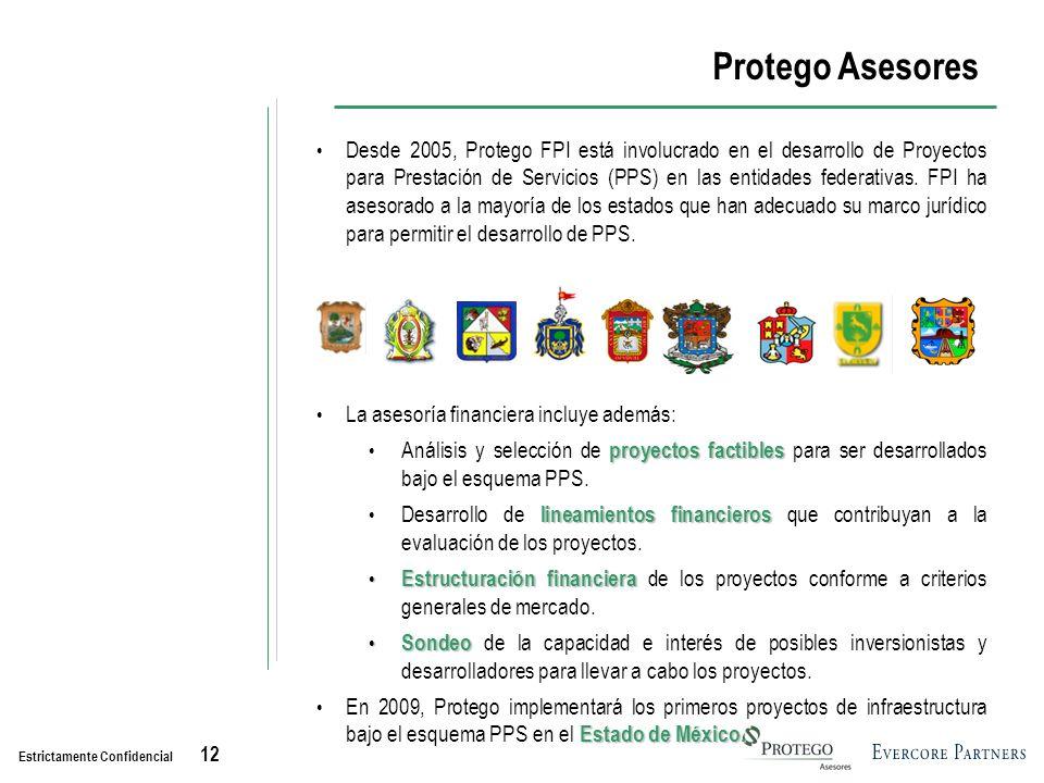 Estrictamente Confidencial 12 Protego Asesores Desde 2005, Protego FPI está involucrado en el desarrollo de Proyectos para Prestación de Servicios (PPS) en las entidades federativas.