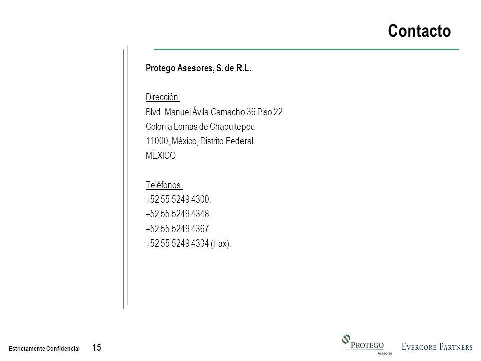 Estrictamente Confidencial 15 Contacto Protego Asesores, S.