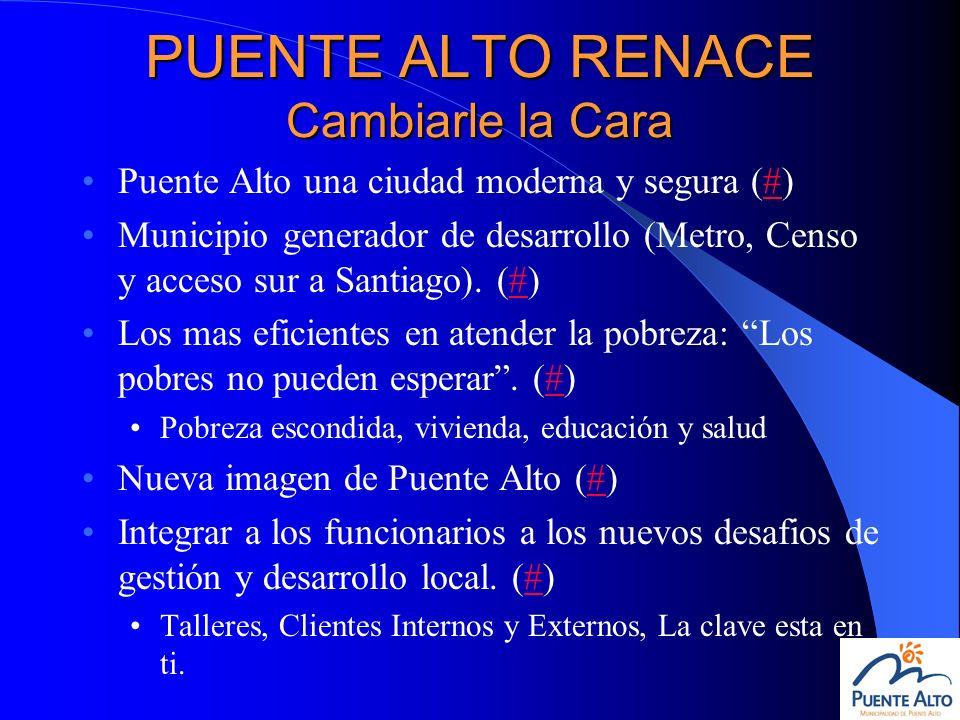 PUENTE ALTO RENACE Cambiarle la Cara Puente Alto una ciudad moderna y segura (#)# Municipio generador de desarrollo (Metro, Censo y acceso sur a Santi