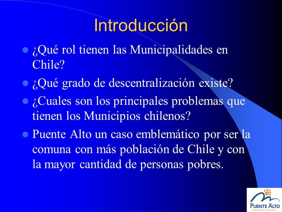 Introducción ¿Qué rol tienen las Municipalidades en Chile? ¿Qué grado de descentralización existe? ¿Cuales son los principales problemas que tienen lo