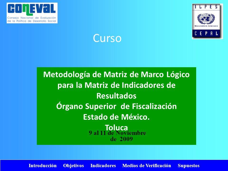 Introducción Objetivos Indicadores Medios de Verificación Supuestos Metodología de Matriz de Marco Lógico para la Matriz de Indicadores de Resultados