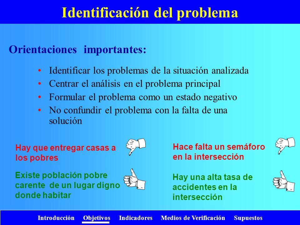 Introducción Objetivos Indicadores Medios de Verificación Supuestos Identificación del problema Identificar los problemas de la situación analizada Ce