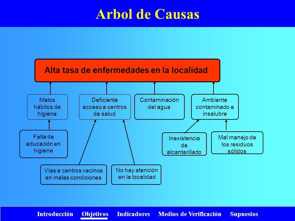 Introducción Objetivos Indicadores Medios de Verificación Supuestos Arbol de Causas Alta tasa de enfermedades en la localidad Deficiente acceso a cent