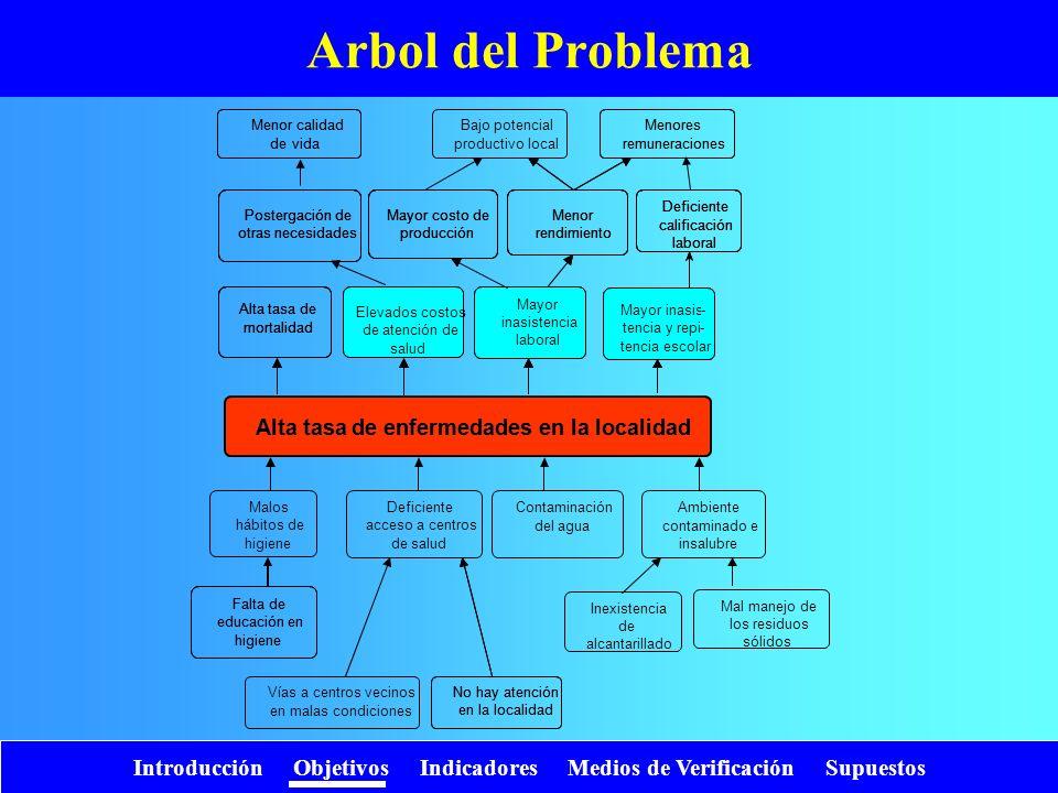 Introducción Objetivos Indicadores Medios de Verificación Supuestos Arbol del Problema Deficiente acceso a centros de salud Contaminación del agua Amb