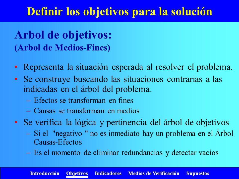 Introducción Objetivos Indicadores Medios de Verificación Supuestos Definir los objetivos para la solución Representa la situación esperada al resolve