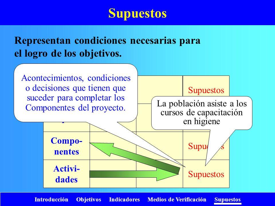 Introducción Objetivos Indicadores Medios de Verificación Supuestos Representan condiciones necesarias para el logro de los objetivos. Supuestos Fin P