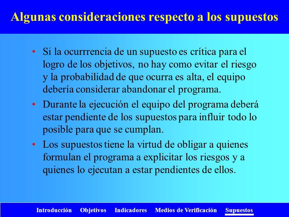 Introducción Objetivos Indicadores Medios de Verificación Supuestos Algunas consideraciones respecto a los supuestos Si la ocurrrencia de un supuesto