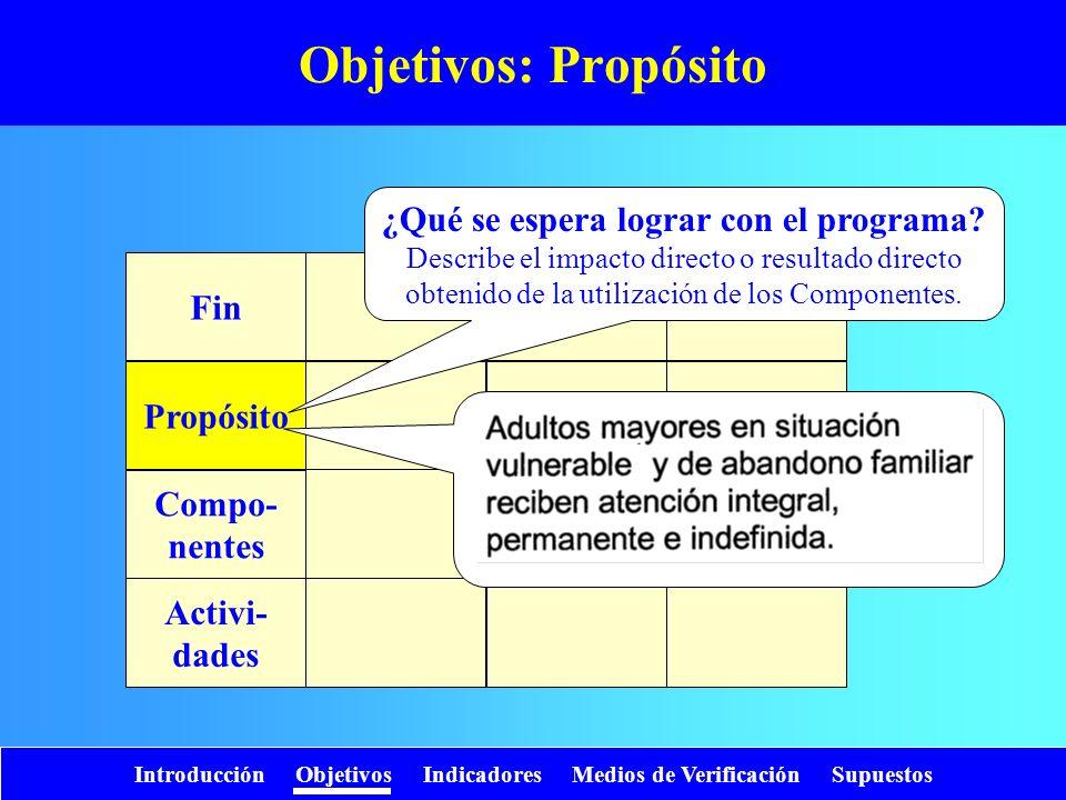 Introducción Objetivos Indicadores Medios de Verificación Supuestos Objetivos: Propósito Fin Propósito Compo- nentes Activi- dades ¿Qué se espera logr