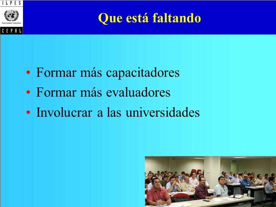 Que está faltando Formar más capacitadores Formar más evaluadores Involucrar a las universidades