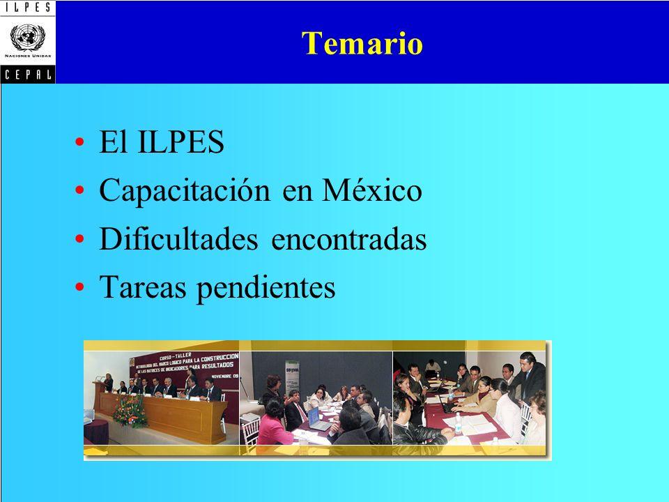 Temario El ILPES Capacitación en México Dificultades encontradas Tareas pendientes