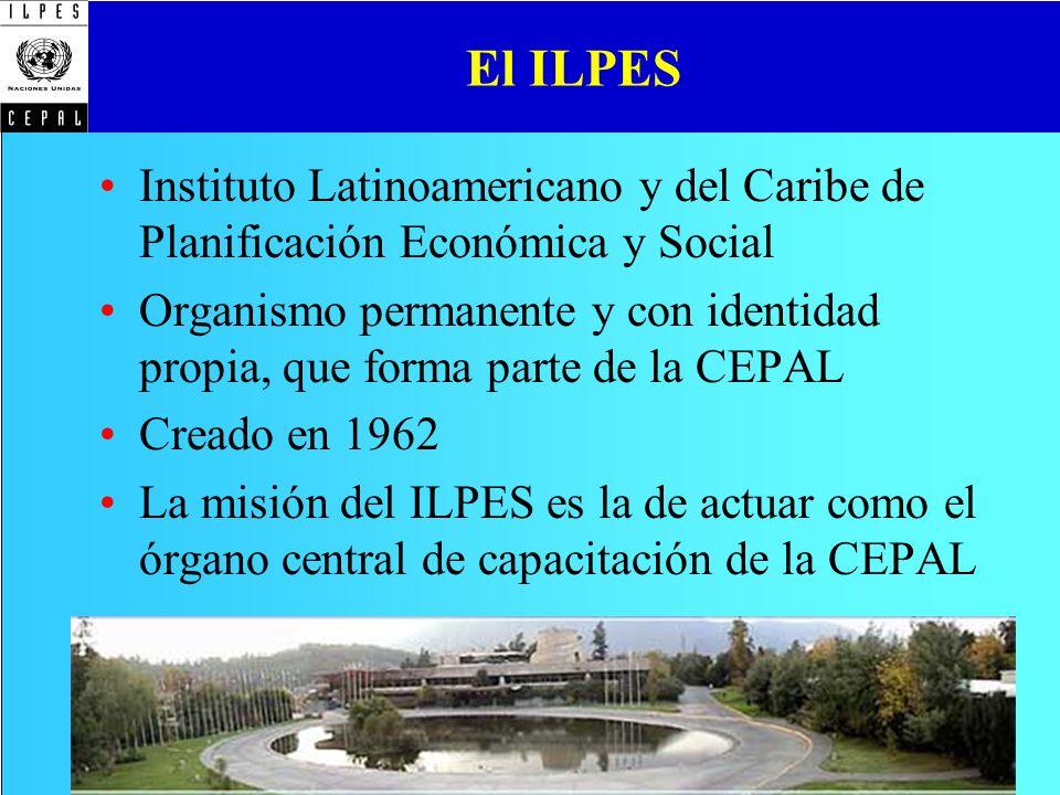 El ILPES Instituto Latinoamericano y del Caribe de Planificación Económica y Social Organismo permanente y con identidad propia, que forma parte de la