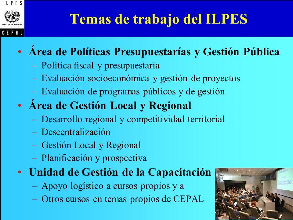 Temas de trabajo del ILPES Área de Políticas Presupuestarías y Gestión Pública –Política fiscal y presupuestaria –Evaluación socioeconómica y gestión