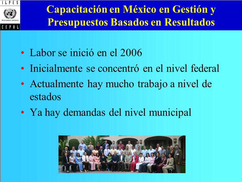 Capacitación en México en Gestión y Presupuestos Basados en Resultados Labor se inició en el 2006 Inicialmente se concentró en el nivel federal Actual
