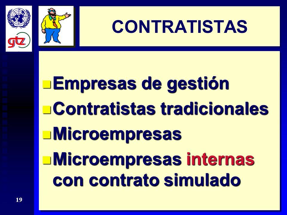 18 EMPRESA Contrato debe ser asumido por una empresa de gestión n Determinación oportunidad y diseño de intervenciones (gestor, consultor) n Financiamiento y garantías (inversionista) n Contratista: ¿tendría vocación.
