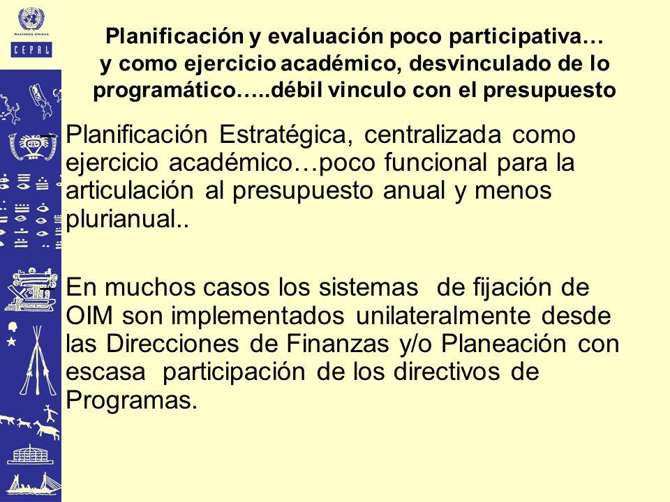 Planificación y evaluación poco participativa… y como ejercicio académico, desvinculado de lo programático…..débil vinculo con el presupuesto –Planifi