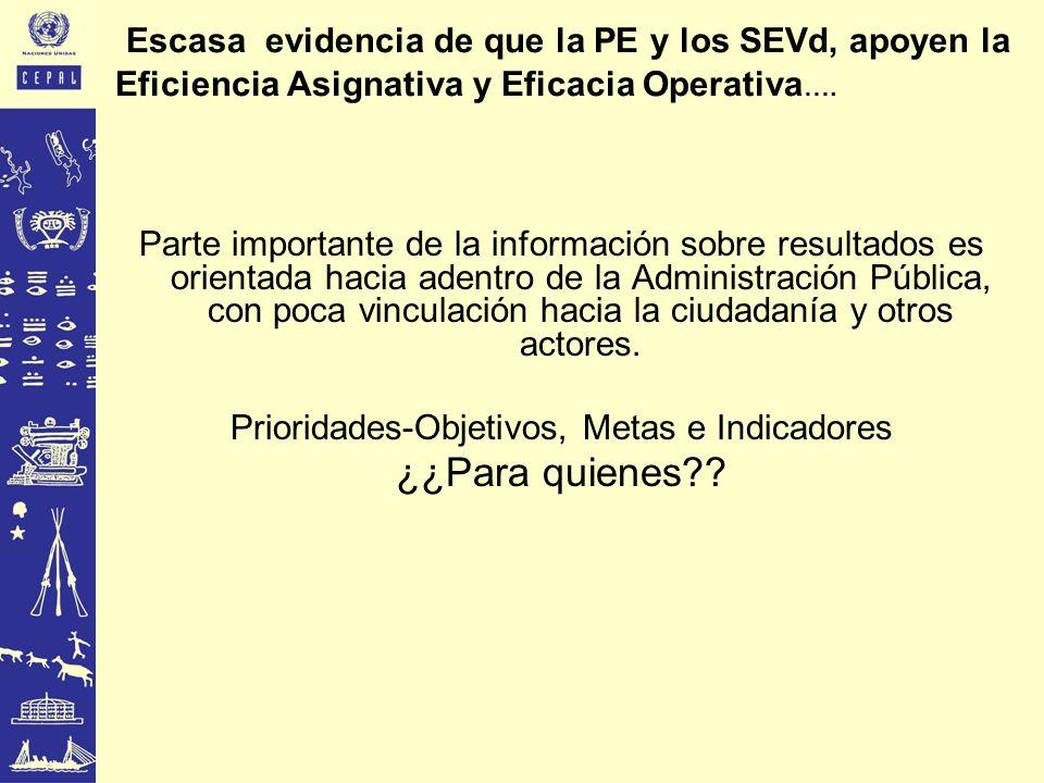 Escasa evidencia de que la PE y los SEVd, apoyen la Eficiencia Asignativa y Eficacia Operativa …. Parte importante de la información sobre resultados