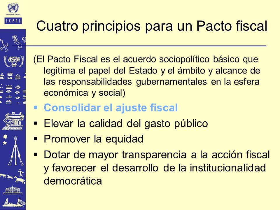 Cuatro principios para un Pacto fiscal (El Pacto Fiscal es el acuerdo sociopolítico básico que legitima el papel del Estado y el ámbito y alcance de l