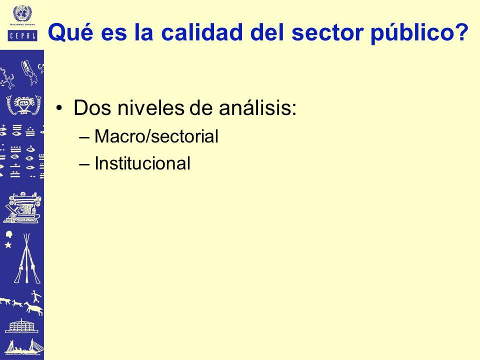 Dos niveles de análisis: –Macro/sectorial –Institucional Qué es la calidad del sector público?