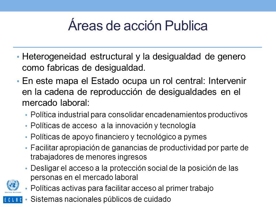 Áreas de acción Publica Heterogeneidad estructural y la desigualdad de genero como fabricas de desigualdad. En este mapa el Estado ocupa un rol centra