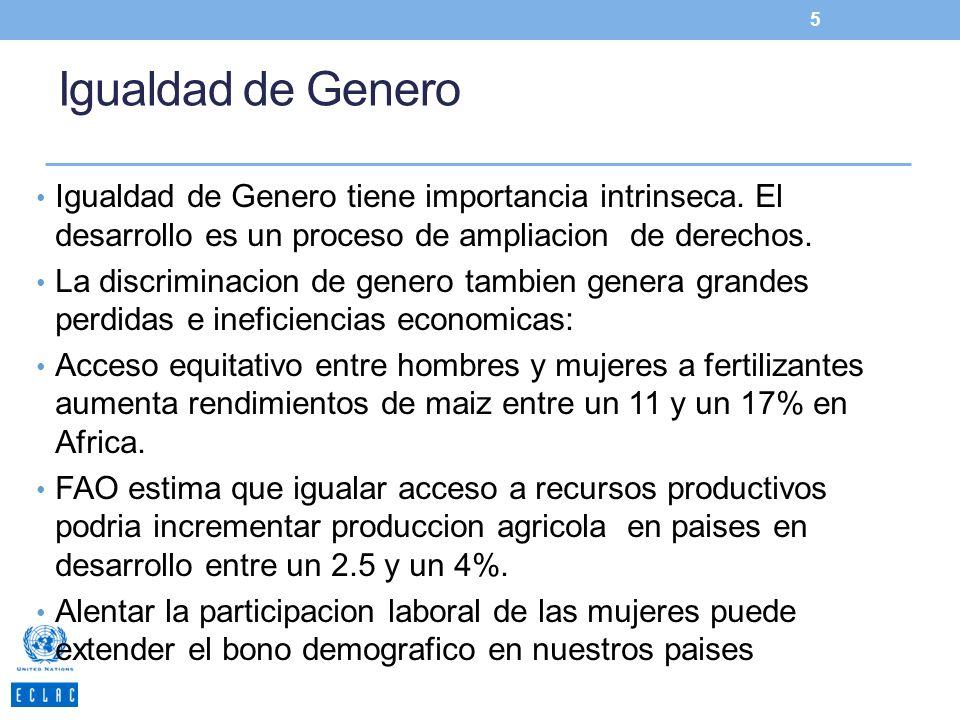 Igualdad de Genero Igualdad de Genero tiene importancia intrinseca. El desarrollo es un proceso de ampliacion de derechos. La discriminacion de genero
