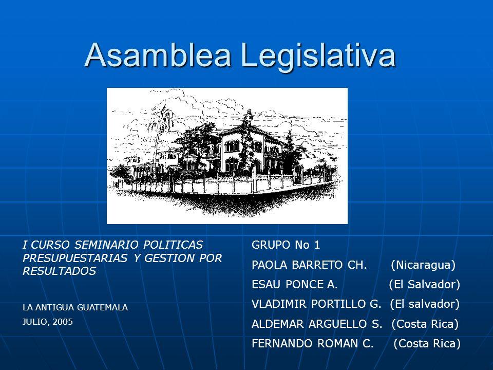 Asamblea Legislativa GRUPO No 1 PAOLA BARRETO CH. (Nicaragua) ESAU PONCE A. (El Salvador) VLADIMIR PORTILLO G. (El salvador) ALDEMAR ARGUELLO S. (Cost
