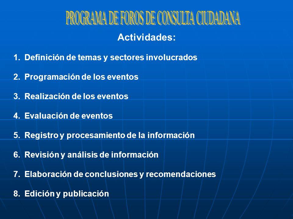 Actividades: 1.Definición de temas y sectores involucrados 2.Programación de los eventos 3.Realización de los eventos 4.Evaluación de eventos 5.Regist