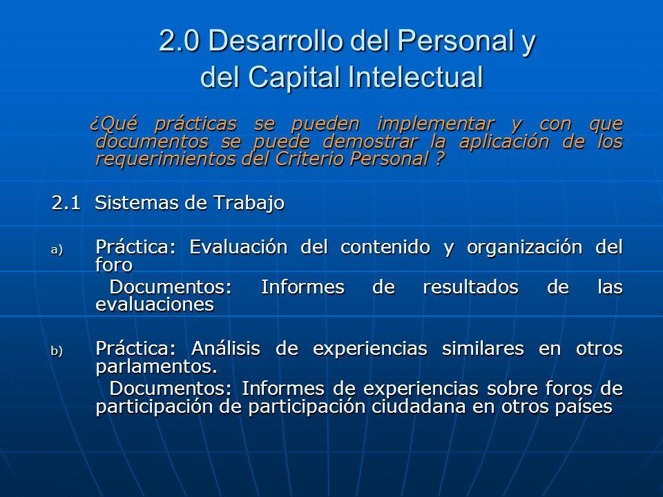 2.0 Desarrollo del Personal y del Capital Intelectual 2.0 Desarrollo del Personal y del Capital Intelectual ¿Qué prácticas se pueden implementar y con