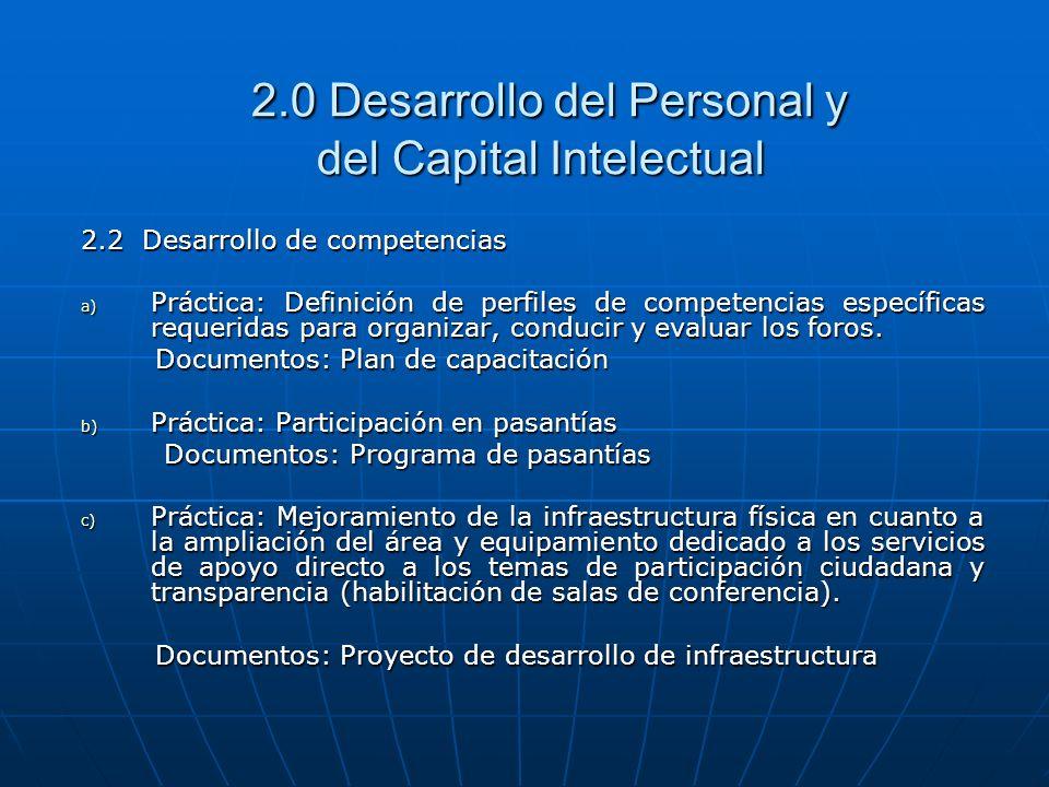 2.0 Desarrollo del Personal y del Capital Intelectual 2.0 Desarrollo del Personal y del Capital Intelectual 2.2 Desarrollo de competencias a) Práctica