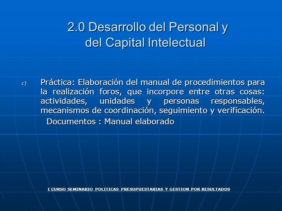 2.0 Desarrollo del Personal y del Capital Intelectual 2.0 Desarrollo del Personal y del Capital Intelectual c) Práctica: Elaboración del manual de pro