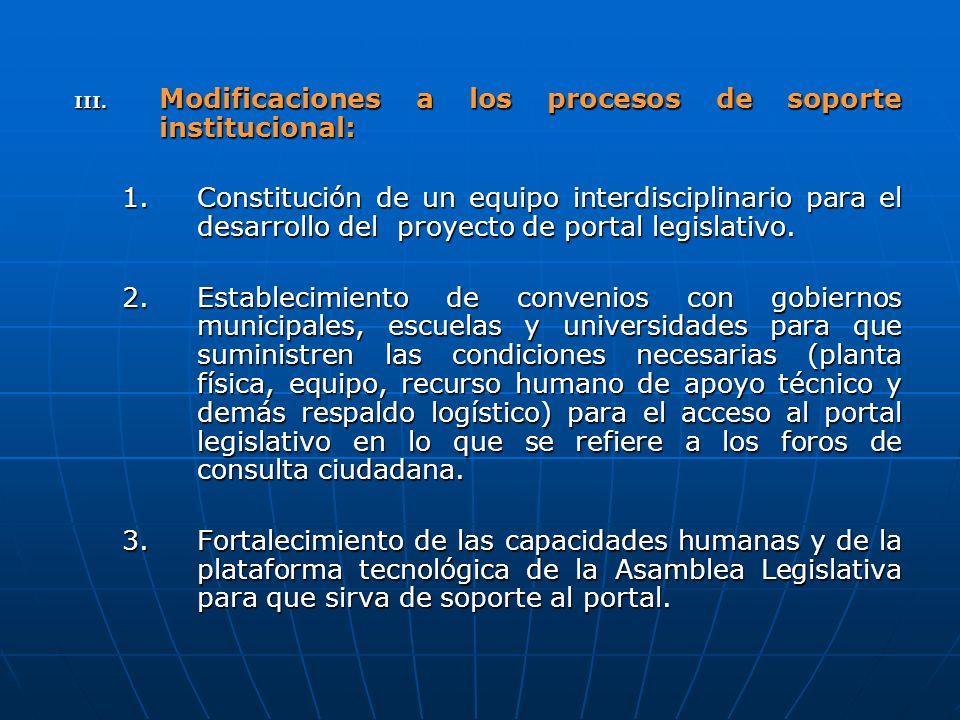 III. Modificaciones a los procesos de soporte institucional: 1.Constitución de un equipo interdisciplinario para el desarrollo del proyecto de portal