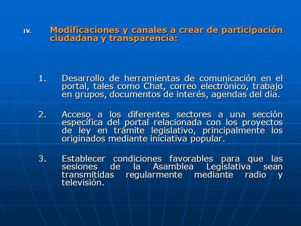 IV. Modificaciones y canales a crear de participación ciudadana y transparencia: 1.Desarrollo de herramientas de comunicación en el portal, tales como